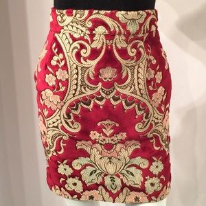 Cest Comme CA High Waist Brocade Vintage Skirt